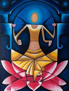 """Indian contemporary art, acrylic painting, Art, Portrait painting, Abstract art, 24""""x 30"""". Painting by Nikki Chauhan. Free shipping"""