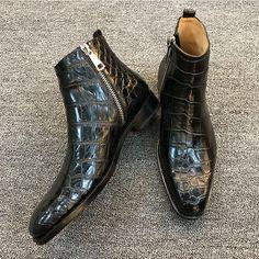 Men's Classic Handcrafted Alligator Chelsea Boots Mens Shoes Boots, Mens Boots Fashion, Men's Shoes, Brown Leather Ankle Boots, Leather Chelsea Boots, Alligator Boots, Gentleman Shoes, Fashion Models, Latex Fashion