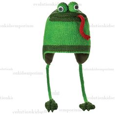 Knitwits Green Fergie The Frog Pilot Hat | Evolution Kids Emporium
