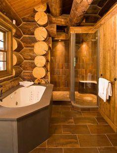 A modern & rustic log home bathroom