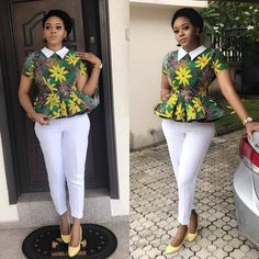 Collection of the most beautiful and stylish ankara peplum tops of 2018 every lady must have. See these latest stylish ankara peplum tops that'll make you stun Ankara Peplum Tops, Ankara Blouse, Ankara Dress, Ankara Tops Blouses, Ankara Gowns, African Fashion Ankara, Latest African Fashion Dresses, African Print Fashion, African Print Clothing