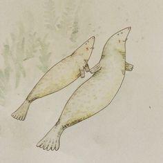 Seals. Love. Watercolor.