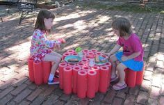 The new picnic table and chairs for the girls was made from pieces of an art installation (apparently used at CMA's Solstice Party a couple of years ago) consisting of glued together pool noodles. Summer Crafts, Summer Fun, Projects For Kids, Crafts For Kids, Kids Water Table, Water Tables, Pool Noodle Crafts, Foam Noodles, Christmas Crafts For Adults