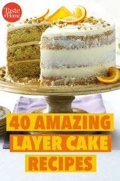 These top-rated, piled-high layer cakes will steal the show. Choose your next dessert-table dazzler or birthday cake right here! Layer Cake Recipes, Homemade Cake Recipes, Best Cake Recipes, Cookie Recipes, Layer Cakes, Poke Cakes, Homemade Breads, Cake Recipe For Decorating, Cupcake Cakes