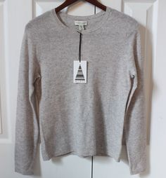 Adrienne Vittadini 100% 2-ply CASHMERE Light GRAY Crewneck Sweater Medium NWOT  | eBay