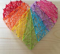 DIY String Art #rainbow #crafts