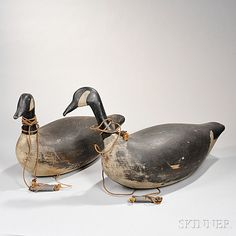"Sold for: $5,843 Two Large Canada Goose Decoys, J.A. Whitney, Falmouth Foreside, Maine, early 20th century, each with head slightly turned, both marked ""J.A. WHITNEY"" on underside, one marked twice, lg. approx. 32 in"