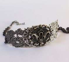 Steampunk silver  keyhole choker   Gothic necklace. $32.00, via Etsy.