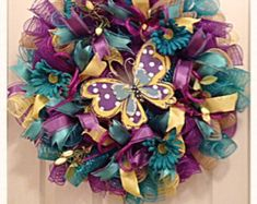 Butterfly Teal, Purple and Yellow Deco Mesh Wreath/Mothers Day Butterfly Wreath/Spring Wreath/Teal, Purple and Yellow Wreath/Summer Wreath