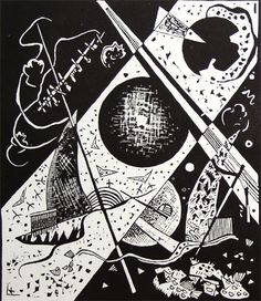 painter Wassily Kandinsky. Graphic works. Little Worlds VI. 1922 woodcut