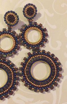 Beadwork Large Double Hoop Earrings Amethyst by WorkofHeart