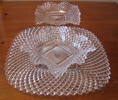 Vintage Indiana Diamond Point Ruffled Serving Dish Set - 3 Piece from WhimsicalVintage on Ruby Lane