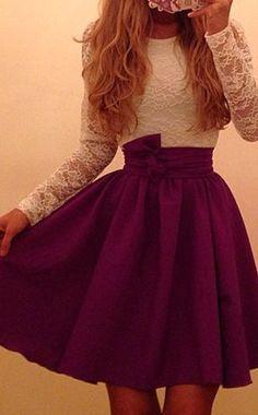 Sweet Scoop Neck Long Sleeve Color Block Dress