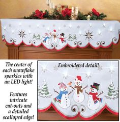 Lighted Winter Snowmen Mantel Scarf