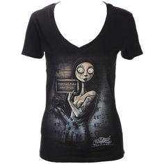 Women's Digoil Renowned Sally Mugshot V-Neck T-Shirt Black