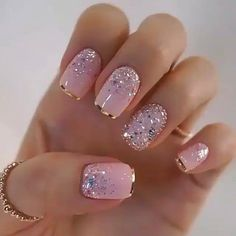 nail art designs with glitter \ nail art designs ; nail art designs for spring ; nail art designs for winter ; nail art designs with glitter ; nail art designs with rhinestones Best Acrylic Nails, Matte Nails, Silver Glitter Nails, Gold Tip Nails, Pink Gold Nails, Glitter Nail Art, Baby Pink Nails With Glitter, Silver Nail Art, Glitter French Manicure
