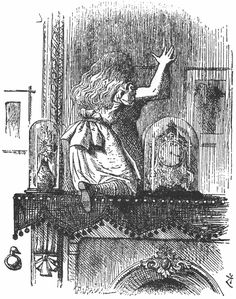 "Alice going through the mantle mirror to Wonderland from Lewis Carroll's ""Through the Looking Glass."" Illustration by artist John Tenniel."
