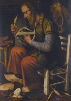 "PIETER PIETERSZ. ANTWERP 1540 - 1603 AMSTERDAM DE GORTENTELLER, A DUTCH PROVERB OF AN OLD MAN SPINNING HIS REEL inscribed upper left: Ick ben oudt ende versleten/ des moet ic haspelen soudic / eten (""I am old and worn, and I still must reel for my food"")."