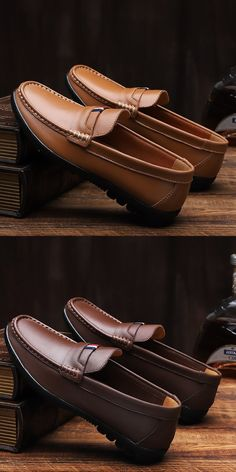 Prelesty Simple Fashion Men Casual Loafer Slip On Shoes Breathable Split Leather - Stylish Shoes For Men, Best Shoes For Men, Formal Shoes For Men, Mens Loafers Shoes, Leather Loafers, Loafer Shoes, Leather Men, Shoes Men, Menswear Street Style