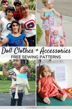 46+ Free Doll Clothes Patterns (and DIY Accessories) Sewing Projects For Kids, Sewing For Kids, Doll Clothes Patterns, Clothing Patterns, Diy Accessories, Sewing Patterns Free, Diy Gifts, Little Ones, Barbie