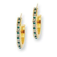 Sterling Silver & Gold-plated Dia. & Emerald Round Post Hoop Earrings Jewelry Adviser Hoop Earrings. $68.16