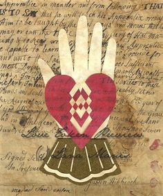 Primitive Heart in Hand Print for Anniversary, Friendship, Love, Wedding - papercutting collage art - red, sepia, green, ivory
