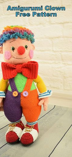 Amigurumi Doll Fooly The Clown Free Crochet Pattern – Amigurumi Patterns Amigurumi Puppe Fooly The Clown Free Häkelanleitung – Amigurumi Anleitungen Crochet Amigurumi Free Patterns, Crochet Patterns Amigurumi, Amigurumi Doll, Crochet Toys, Free Crochet, Crochet Stitches, Crochet Doll Tutorial, Crochet Doll Pattern, Es Der Clown