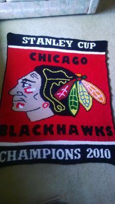 Chicago Blackhawks crocheted blanket