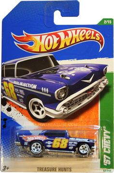 """from the 2011 Treasure Hunt series. The Chevy features dark blue paint, the Hot Wheels logo and """"TH"""" on the sides, on the roof and sides, H. Custom Hot Wheels, Hot Wheels Cars, Carros Hot Wheels, Hot Wheels Storage, Toys R Us Kids, Disney Cars Toys, Hot Wheels Treasure Hunt, Matchbox Cars, Automobile"""