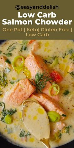 Make this helathy salmon chowder that is full of nutrition and ideal for those with diabetes, PCOS and that are on a keto diet. Make ahead and serve during the week. Save the recipe now! Dinner Recipes Easy Quick, Vegetarian Recipes Dinner, Easy Meal Prep, Healthy Soup Recipes, Healthy Meal Prep, Lunch Recipes, Breakfast Recipes, Salmon Soup, Salmon Chowder