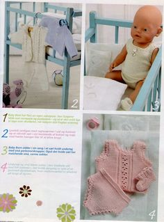 Baby born dress diy 70 Ideas for 2019 Knitting Dolls Clothes, Baby Doll Clothes, Knitted Dolls, Doll Clothes Patterns, Baby Dolls, Baby Born, Baby Blanket Crochet, Crochet Baby, Baby Names Flowers