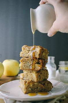 maple apple bars with pecans, apples, and maple syrup with a great blondie recipe for the base