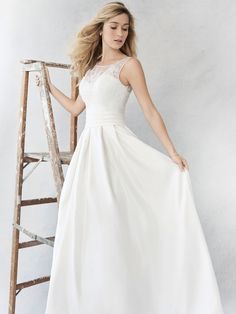 Ella Rosa Style BE371 | beautiful matte satin dress with lace top | romantic wedding dress | bridal gown
