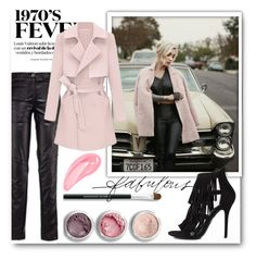 """Pink Coat"" by stylemoi-offical ❤ liked on Polyvore featuring Bare Escentuals"