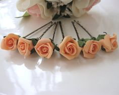 Set of 6 Orange Rose Floral Hair Clips Floral Hair by BridalLife, $15.00