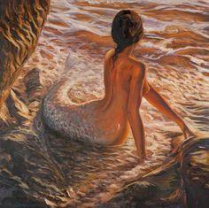 "Saatchi Online Artist ~ Marco Busoni: Painting ""The daughter of the sea"". Saatchi Online, Photo D Art, Mermaids And Mermen, Illustration, Wow Art, Mermaid Art, Mermaid Pics, Mermaid Paintings, Mermaid Pictures"