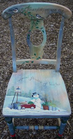 Cute Snowman Chair wooden chairs, christmas furniture, paint furnitur, decorative painting patterns, snowman chair, kitchen chairs, painted holiday crafts, painted chairs ideas, old chairs