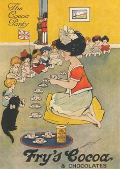 Hilda Cowham, Fry's Cocoa ad featuring a little girl, dolls, and kitty