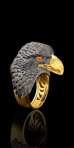 Master Exclusive Design -Ring w/ matching cuff links-Collection:Birds of paradise-14К yellow gold, orange sapphire