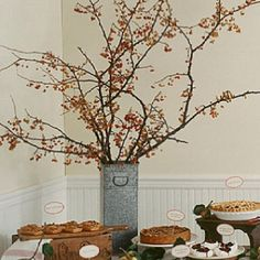Guest book, cake or card table twig display.perhaps in a more classic vase? Twig Centerpieces, Autumn Colours, Table Cards, Martha Stewart, Wedding Ideas, Vase, Display, Decoration, Book