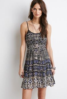Lace-Up Abstract Print Dress | Forever 21 - 2000095044