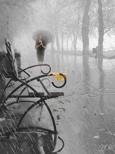 Black and white rain .gif (blanco y negro lluvia gif) Walking In The Rain, Singing In The Rain, Arte Black, Foto Gif, I Love Rain, Rain Go Away, Rain Days, Sound Of Rain, Going To Rain