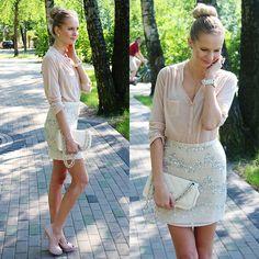 Primark Nude Color Blouse, H&M All Sequin Skirt, Lala Light Pink Color Heels