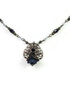 From jewelrybyNaLa on Etsy ... https://www.etsy.com/listing/267672029/sapphire-blue-flower-necklace-swarovski #jewelry #necklace #Swarovski
