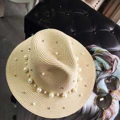 2017 New Summer British pearl beading flat brimmed straw hat Shading sun hat Lady beach hat - TakoFashion - Women's Clothing & Fashion online shop Fashion Online Shop, Fashion Websites, Fashion Stores, Fashion Brands, Sun Hats For Women, Straw Fedora, Outfits With Hats, Woman Beach, Summer Hats
