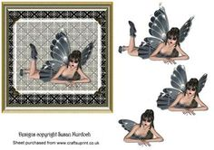 DARK FAIRY GOTH CARD on Craftsuprint designed by Susan Murdoch - Card front with sexy fairy and step by step decoupage - make a card for a youngster - male or female! Or use as a topper and make a larger card! - Now available for download!
