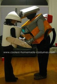 We decided to dress up as Wall-E and Eve for this Halloween. Here is how we made our Homemade Wall-E and Eve Couple Costume: For Eve's costume, I bought a Wall E Eve, Homemade Costumes