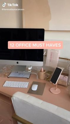 Home Office Setup, Home Office Space, Desk Setup, Home Office Design, Chic Office Decor, Study Room Decor, Room Ideas Bedroom, Gold Room Decor, Amazon Work From Home