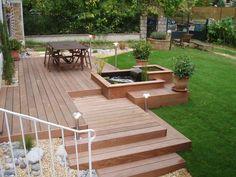 bassin sur terrasse bois