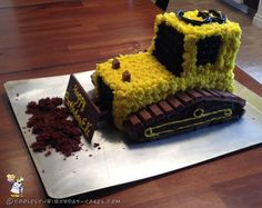 Coolest 3rd Birthday Bulldozer Cake